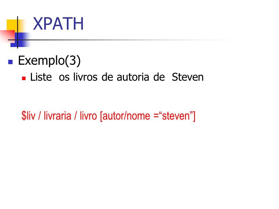 XPATH Exemplo(3) $liv / livraria / livro [autor/nome = steven ]